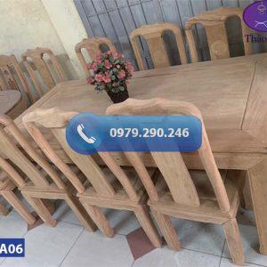 Bàn ăn 6 ghế hình chữ nhật gỗ gõ đỏ BA06