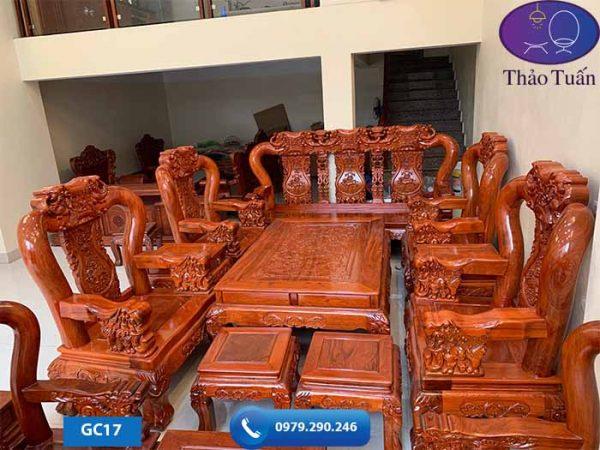 Bộ ghế Minh Quốc Voi 10 món gỗ hương đá GC17