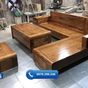 Bộ ghế sofa chân cuốn gỗ hương xám SF26