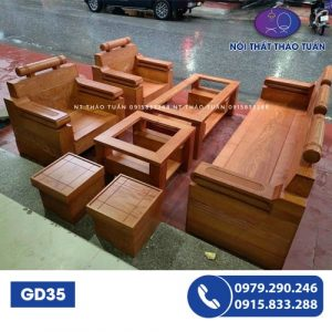 Bộ ghế đối hộp gỗ sồi GD35-1