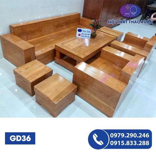 Bộ ghế đối hộp gỗ sồi GD36