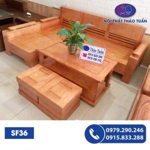 Bộ ghế sofa góc nhỏ gỗ sồi SF36